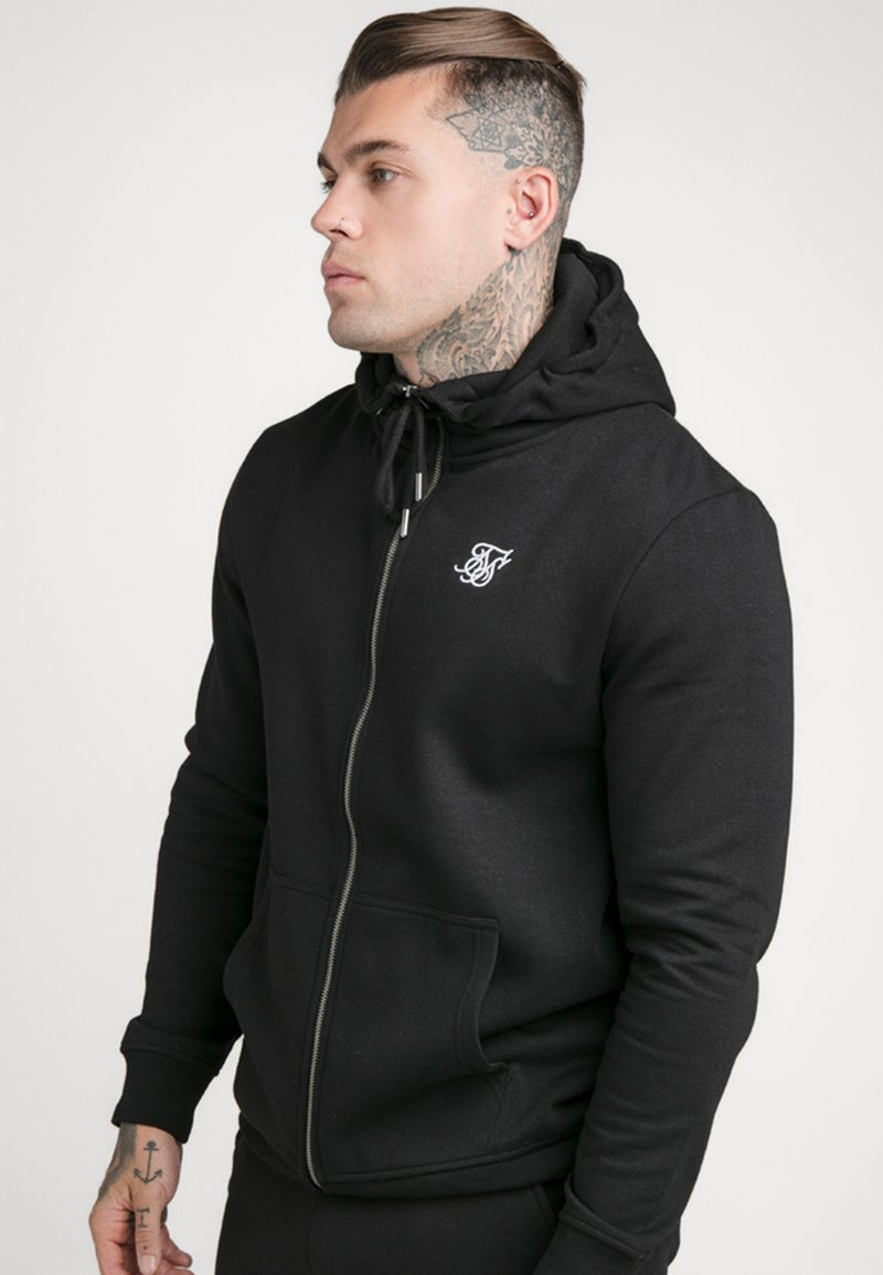 SIKSILK - ZIP THROUGH FUNNEL NECK HOODIE - Zip-up hoodie - black