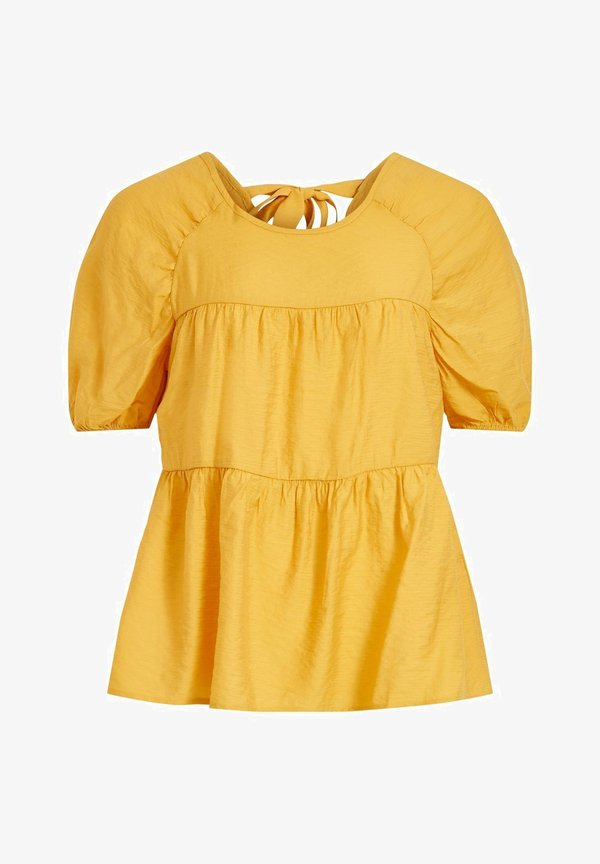 Vila MIT KURZEN ÄRMELN HINTEN GEBUNDENES - Bluzka - mineral yellow/żÓłty VJXE