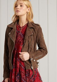 Superdry - Leather jacket - tobacco suede - 1