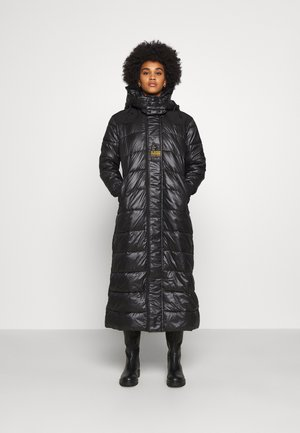 EXTRA LONG HOODED PADDED PUFFER  - Winter coat - dk black
