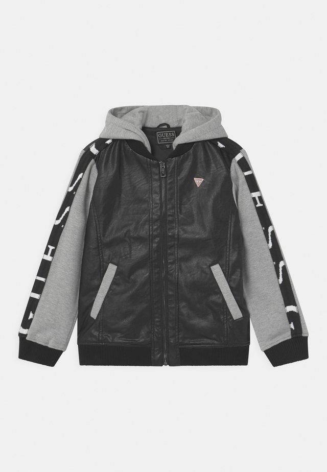JUNIOR LEATHER - Faux leather jacket - black/grey combo