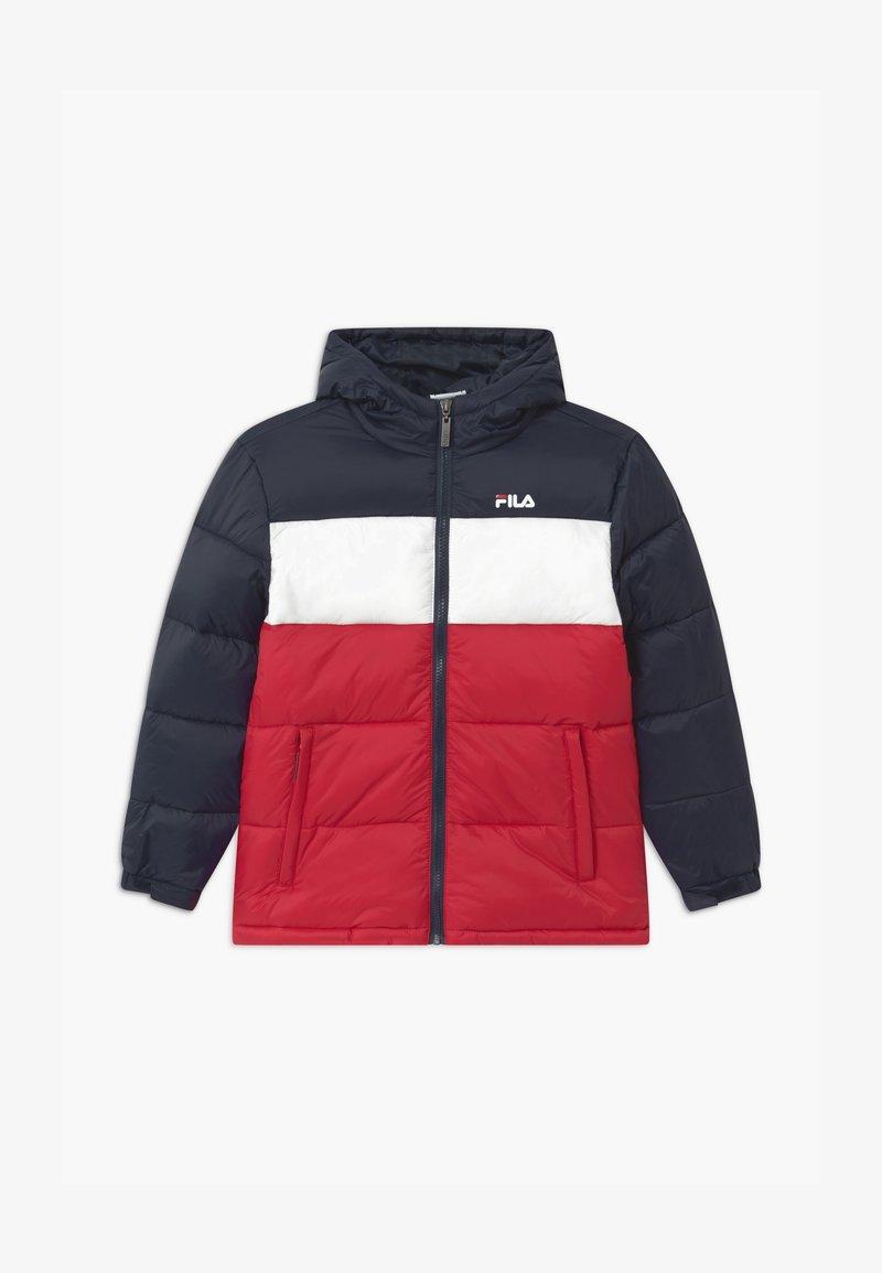 Fila - BROOKLYN PUFFER UNISEX - Winter jacket - black iris/true red/bright white