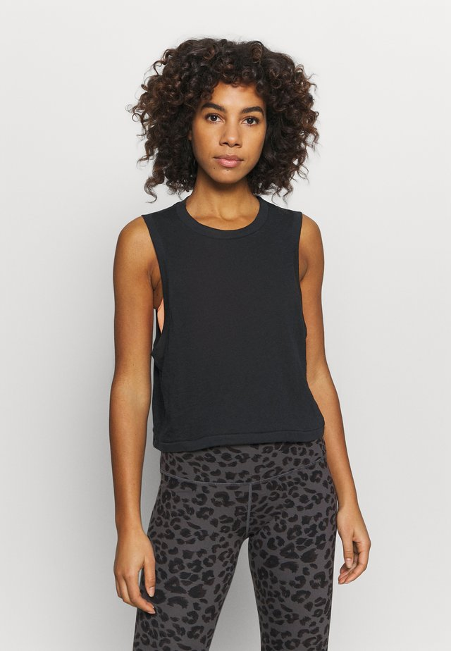 ALL THINGS FABULOUS CROPPED MUSCLE TANK - Linne - black
