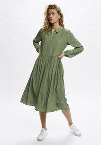 Denim Hunter - Shirt dress - oil green dot print - 1