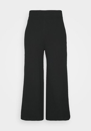 Wide Cropped Pants - Broek - black