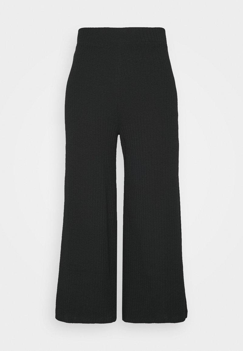 Even&Odd Wide Cropped Pants - Stoffhose - black/schwarz nwS2V9