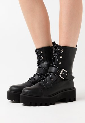 BASIC LACE UP COMBAT BOOTS - Cowboystøvletter - black