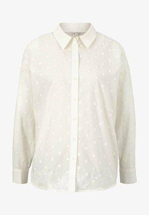 GEPUNKTETE OVERSIZED - Button-down blouse - gardenia white