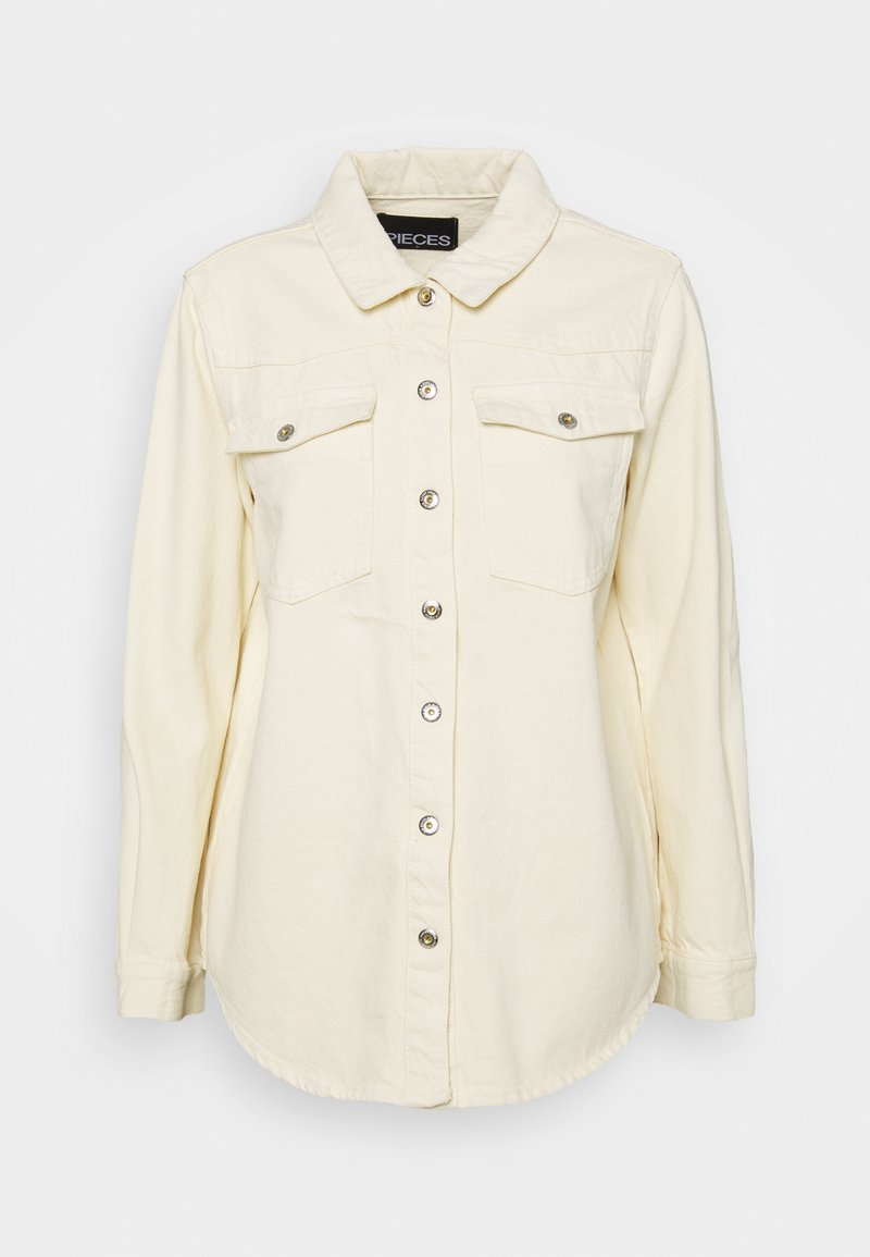 Pieces - PCGRAY SHACKET - Denim jacket - almond milk