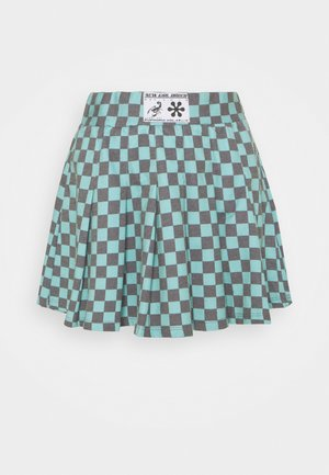 CHECKERBOARD SKIRT - Veckad kjol - black/green