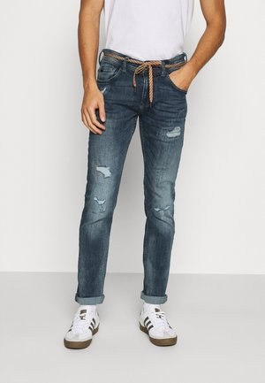PIERS DESTROYED - Jeansy Slim Fit - mid stone wash