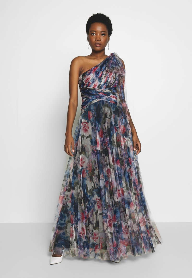 Adrianna Papell - SHIRRED PRINTED GOWN - Iltapuku - red/blue/multi