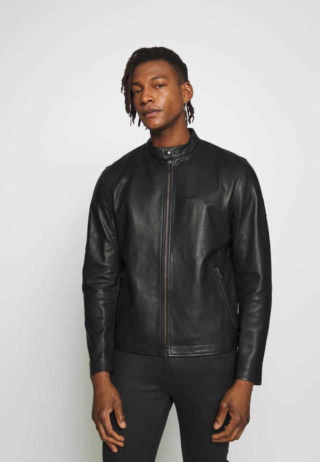 REEVE JACKET - Leather jacket - blackbrown