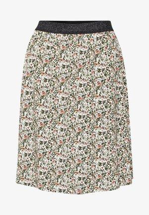 BPFIOLA - A-line skirt - chalk - green/coral flowers