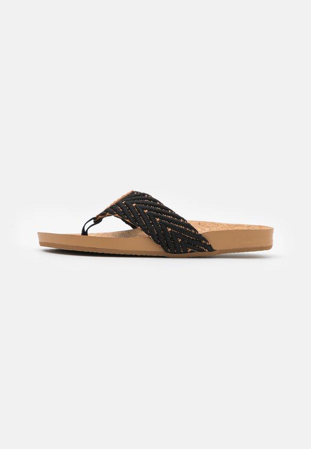 CUSHION STRAND - Flip Flops - black/natural