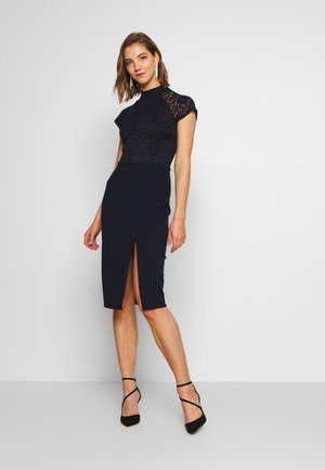 HIGH NECK MIDI DRESS - Shift dress - navy blue