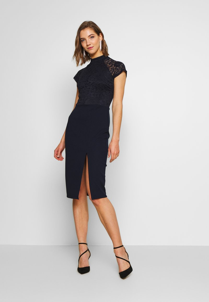WAL G. - HIGH NECK MIDI DRESS - Pouzdrové šaty - navy blue