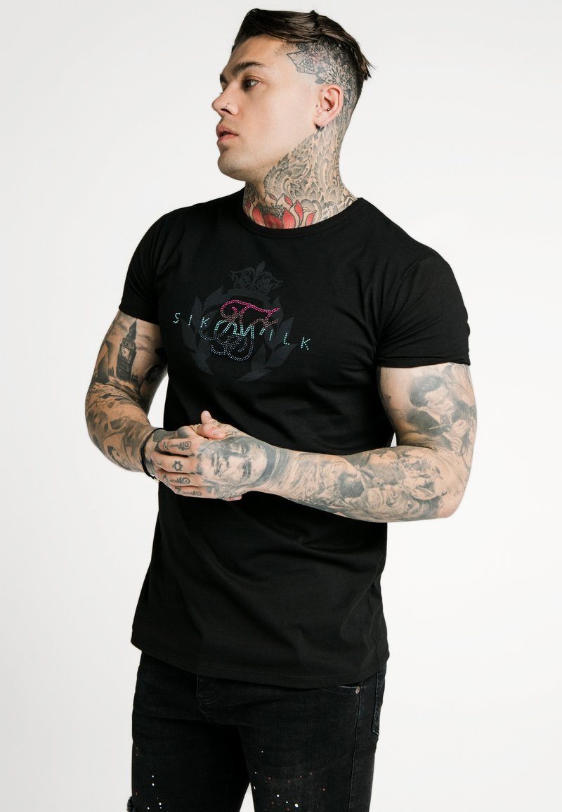 SIKSILK - FADE RHINESTONE BOX TEE - Print T-shirt - black