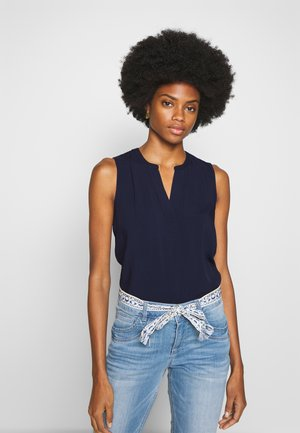 NECK DETAIL - Bluse - real navy blue