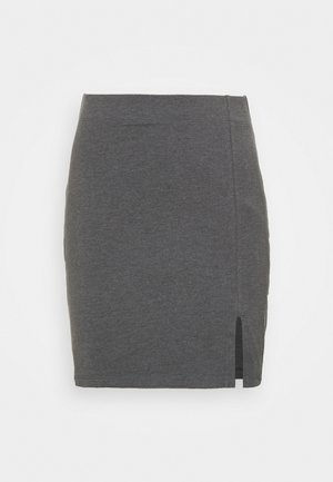 Basic mini skirt with slit - Mini skirt - mottled dark grey