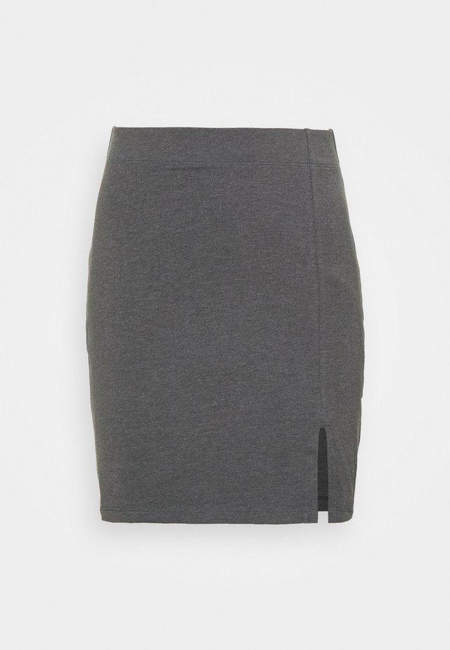 Basic mini skirt with slit - Mini skirt - mottled dark grey