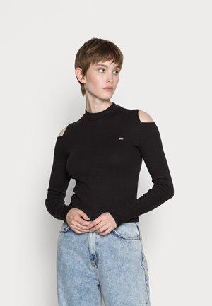 CROP CUT OUT - Bluzka z długim rękawem - black