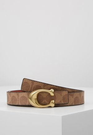 SCULPTED COATED REVERSIBLE SIGNATURE BELT - Pásek - tan/rust