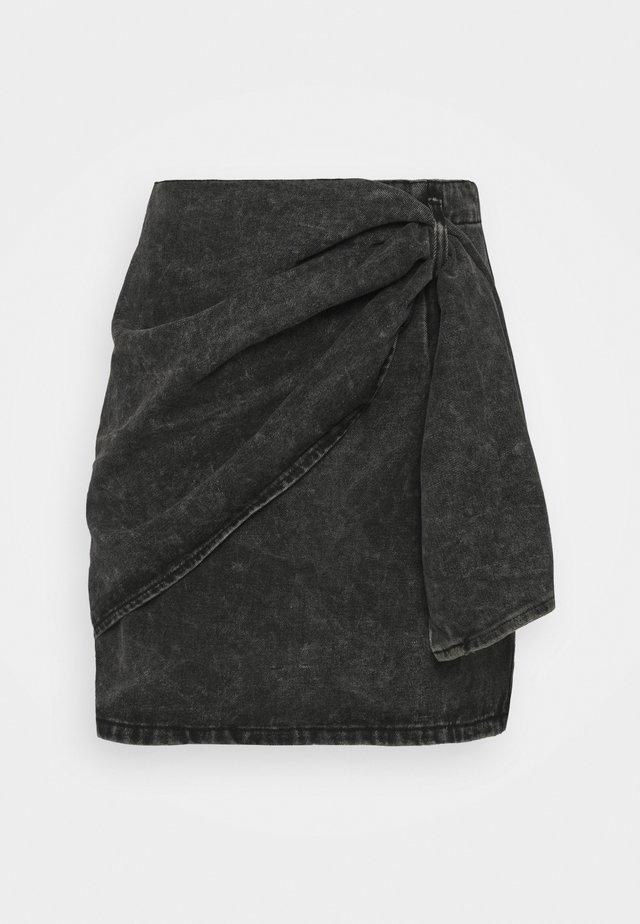 WRAP DETAIL SKIRT - Mini skirt - grey