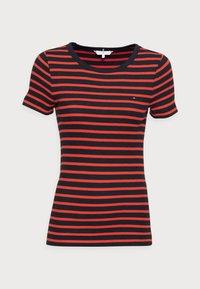 Tommy Hilfiger - SKINNY OPEN - Print T-shirt - blue - 3