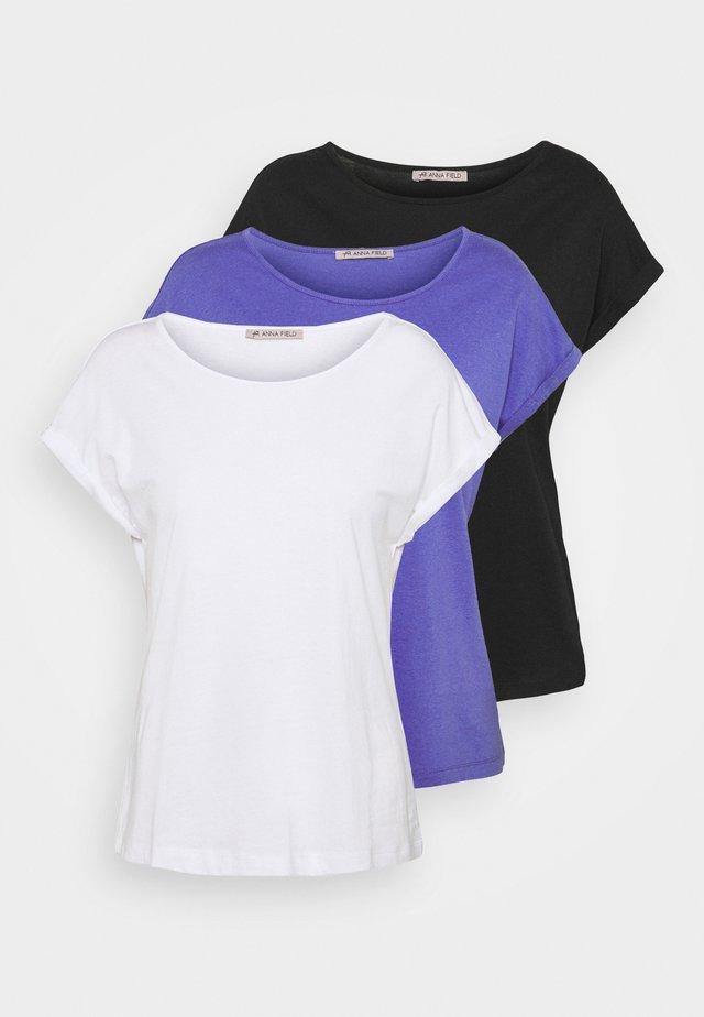 3 PACK - Jednoduché triko - black/white/blue