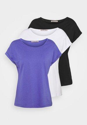 3 PACK - Basic T-shirt - black/white/blue