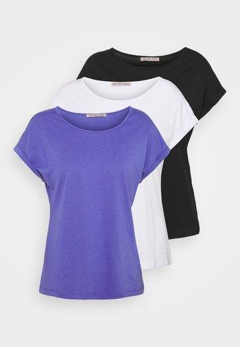 3 PACK - T-shirt basic - black/white/blue