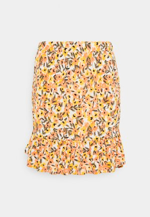 VIMIE  - Mini skirt - cloud dancer/orange