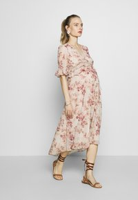 Hope & Ivy Maternity - MIDI PEPLUM KEYHOLE BACK DRESS - Cocktail dress / Party dress - blush - 1