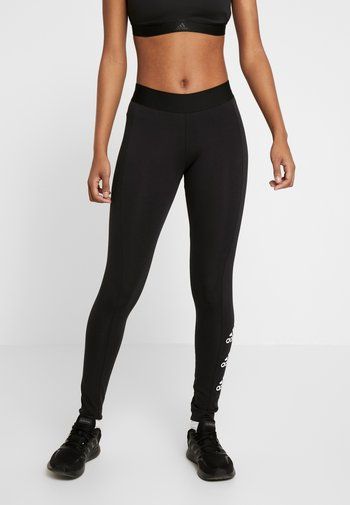ESSENTIALS SPORT INSPIRED COTTON LEGGINGS - Tights - black/white