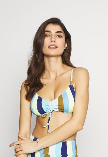 SCOOP RUCHED LAYLA STRIPE - Bikini top - bluejay