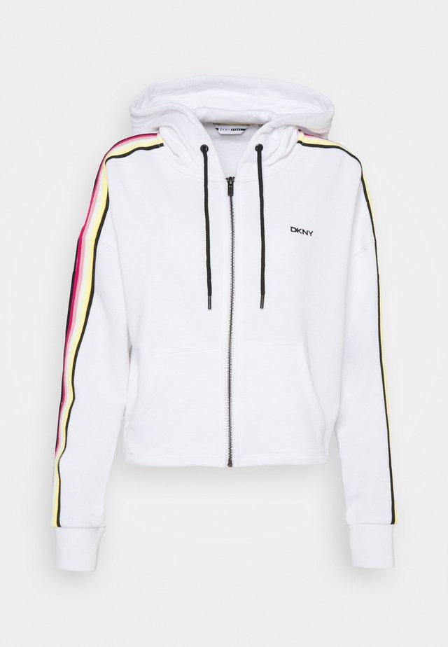 CROPPED ZIP HOODIE - veste en sweat zippée - white