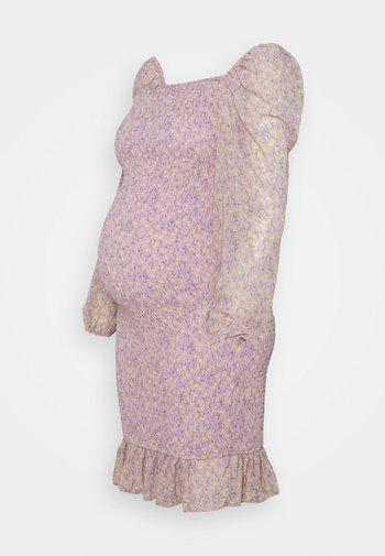 FLORAL SHIRRED MINI DRESS
