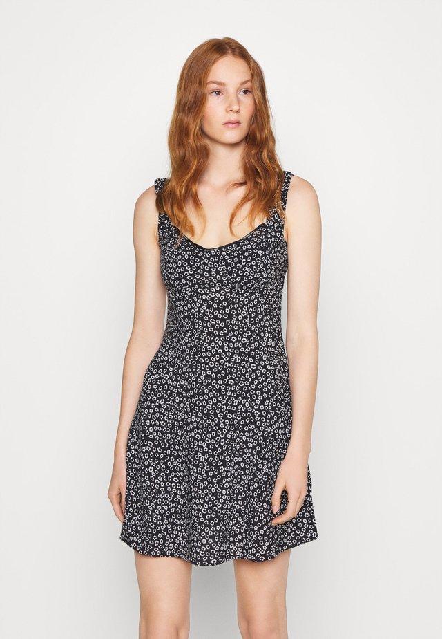 OFF SHOULDER FLORAL DRESS - Day dress - black/white
