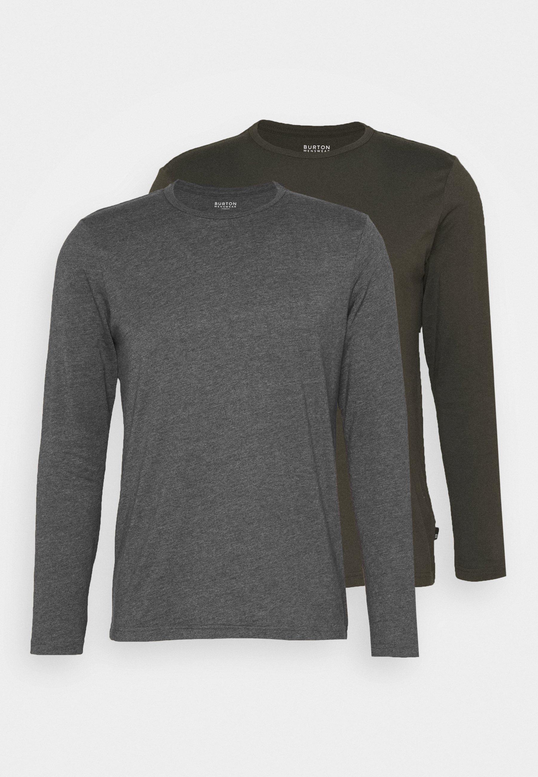 Burton Menswear London Long Sleeve Crew 2 Pack - Topper Langermet Charcoal/mørkegrå
