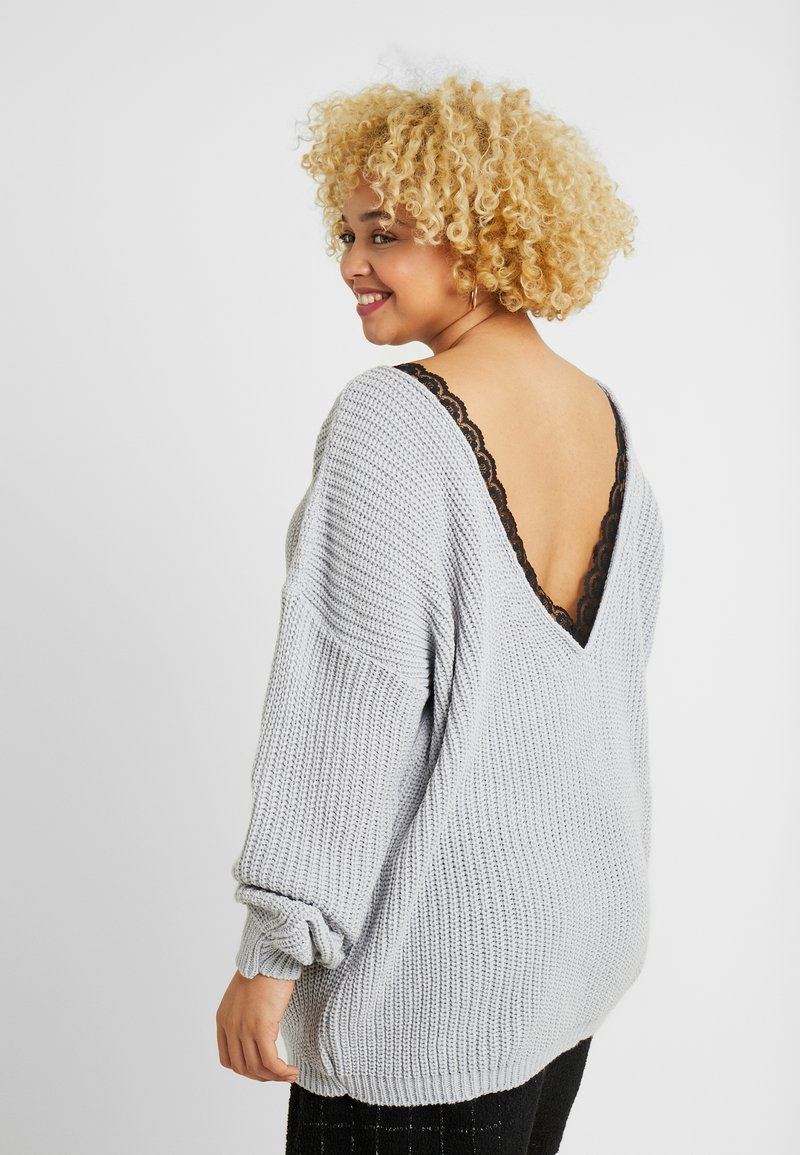 Glamorous Curve - TRIM JUMPER - Strikkegenser - light grey
