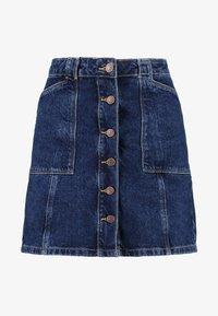 New Look - PATCH POCKETE CARAMEL  - Denim skirt - blue pattern - 3
