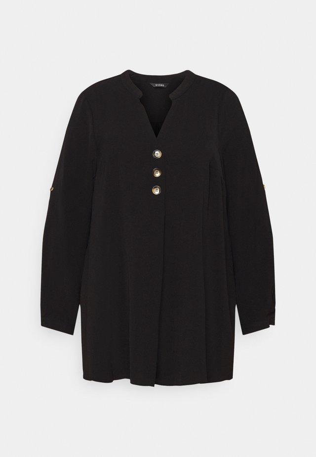 BUTTON OVERHEAD SHIRT - Bluzka - black