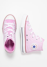 Converse - CHUCK TAYLOR ALL STAR PINSTRIPE - High-top trainers - peony pink/garnet/white - 0