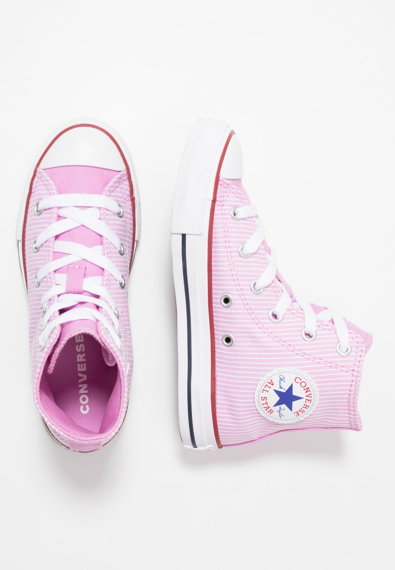 Converse - CHUCK TAYLOR ALL STAR PINSTRIPE - High-top trainers - peony pink/garnet/white