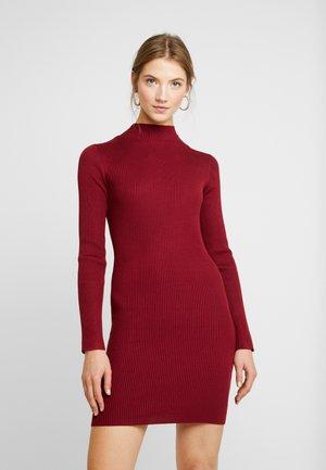 BASIC HIGH NECK LONG SLEEVE JUMPER DRESS - Shift dress - bordeaux
