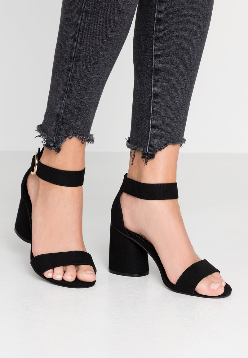 Miss Selfridge Wide Fit - WIDE FIT BLOCK HEEL BARELY THERE - Sandals - black