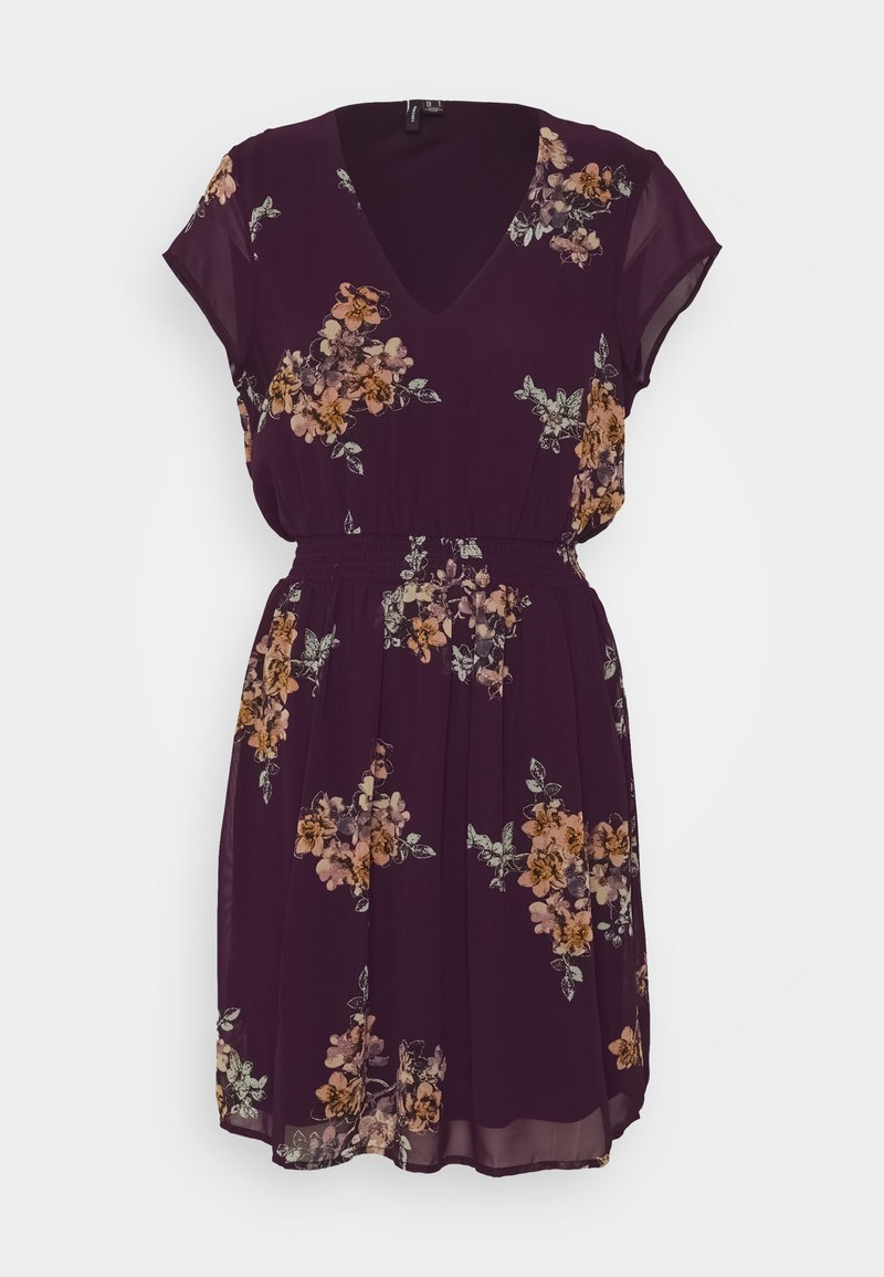 Vero Moda - VMALLIE CAPSLEEVE DRESS - Day dress - winetasting