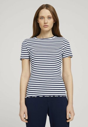 TEE WITH FRILLED EDGES - Print T-shirt - navy/white