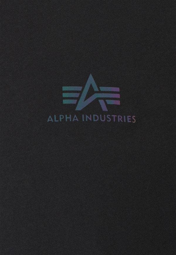 Alpha Industries BASIC SMALL LOGO RAINBOW - T-shirt z nadrukiem - black/czarny Odzież Męska WZML